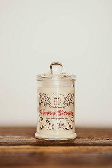 Svietidlá a sviečky - Sviečka zo sójového vosku v skle - Vianočné Perníčky 125g/30hod (sviečka) - 11122819_
