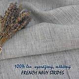 Textil - 100% len French navy stripes...metráž - 11125307_