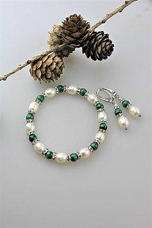 Sady šperkov - malachit s perlou náramok a náušnice - 11124314_