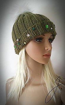Čiapky - Zelená kamienková čiapka :) - 11124272_