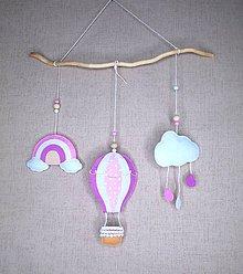 Detské doplnky - Balón medzi oblakmi (veľká dekorácia- ružová) - 11122829_
