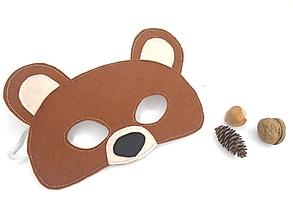 Hračky - Maska na tvár, škraboška (medveď) - 11122889_