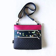 Kabelky - Mini Lola - Tmavomodrá s bodkami a kvetmi - 11123280_