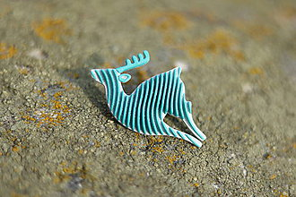 Odznaky/Brošne - Jeleň silver/turqouise blue - 11122521_