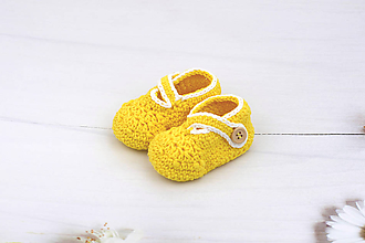 Topánočky - Žlto-biele papučky EXTRA FINE - 11123589_