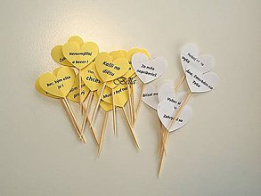 Dekorácie - Žlté vtipné zapichovátka do zákuskov / koláčov - 11124464_