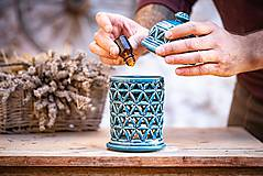 Svietidlá a sviečky - Aromalampa modrá - KVĚT ŽIVOTA - 11123289_