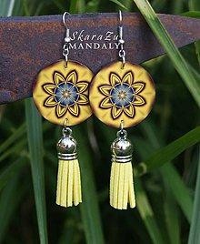 Náušnice - Mandala žltá - 11122535_