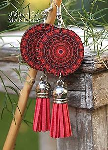 Náušnice - Mandala červená - 11122546_