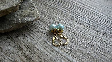 Náušnice - Perly visiace, zlatý kov (svetlo modré, zlatý kov č. 2863) - 11123001_