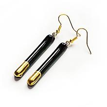 Náušnice - Sklenené čierne náušnice tyčky pozlátené - 11125966_
