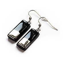 Náušnice - Sklenené čierne náušnice obdĺžniky platinované - 11126078_