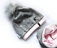 Detské súpravy - Zimný set Obojstranný s Odopínacím brmbolcom mýval gray & pink - 11126288_