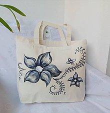 Veľké tašky - Ručne maľovaná taška z bio bavlny - 11124969_