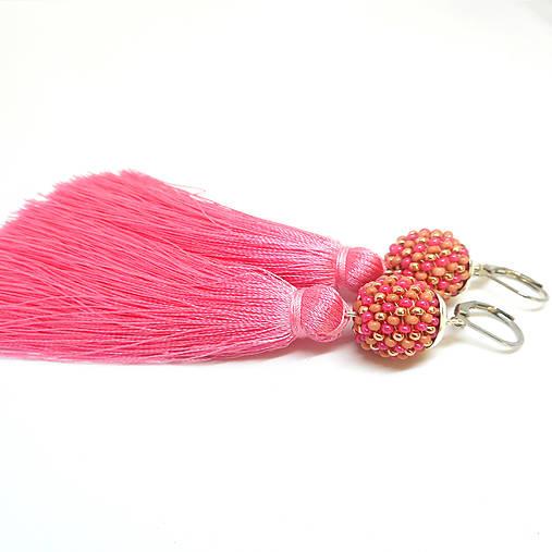 TASSEL trio ružové visiace náušnice so strpcom