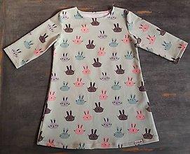 Detské súpravy - Šaty šatôčky Bunny mint + čiapka - 11124427_