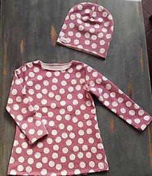 Detské súpravy - Šaty Dots + čiapka - 11124469_