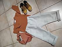 Detské súpravy - Ľanové nohavice a šatka - 11125552_