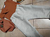Detské súpravy - Ľanové nohavice a šatka - 11125556_