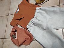 Detské súpravy - Ľanové nohavice a šatka - 11125557_