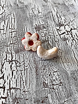 Náušnice - linecký kvietok a vanilkový rožtek - napichovačky - 11122793_