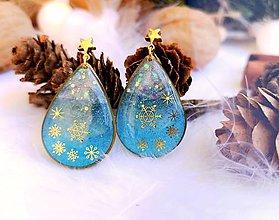 Náušnice - Vianočné náušnice napichovacie modré s vločkami - 11124293_