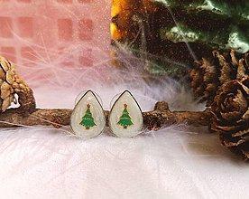 Náušnice - Vianočné náušnice napichovacie so stromčekom, chirurgická oceľ - 11124572_