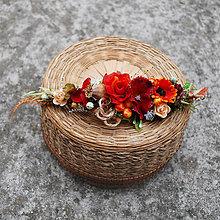 Ozdoby do vlasov - Polenček jesenný oranžovo- bordový s makovičkou a bobuľami - 11129723_
