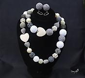 Sady šperkov - súprava guličky šedo-biely mix - 11127489_