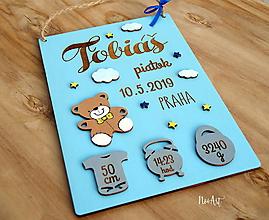 Detské doplnky - Tabuľka pre bábätko s údajmi o narodení chlapček 7 - 11129996_