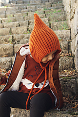 MIJANI Detská čiapka škriatkovský čepček - hrdzavá