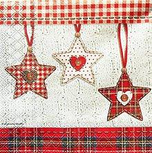 Papier - S551 - Servítky - hviezdy, káro, vianoce - 11127004_
