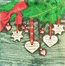 Papier - S1104 - Vianoce, ozdoby, srdce, vetvička, hviezda - 11127890_