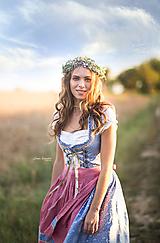 Ozdoby do vlasov - Romantický kvetinový venček šedo-fialový - 11126566_