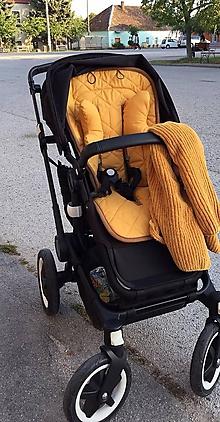 Textil - Univerzálna podložka do kočíka Bugaboo / Oyster ZERO / cybex Mios / Greentom MUSTARD HORČICOVÁ - 11127209_