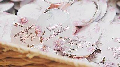 Darčeky pre svadobčanov - Svadobný odznak, svadobná brošňa, button - 11127703_