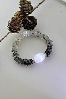 Náramky - turmalín v kremeni náramok so selenitom luxusný - 11129793_