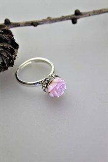 Prstene - ružová perleť prsteň striebro - nastaviteľný - 11130197_
