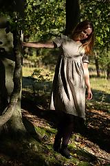 Šaty - Ľanové šaty prírodné bodkované - 11130076_