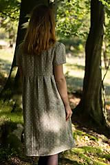 Šaty - Ľanové šaty prírodné bodkované - 11130078_