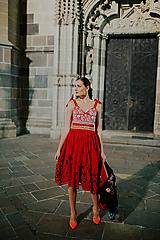 Šaty - červené ľanové šaty Poľana - 11128904_