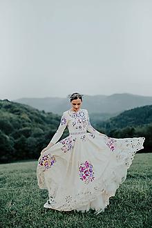 Šaty - béžové vyšívané šaty Poľana - 11129375_