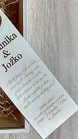 Krabičky - Drevená gravírovaná krabica na víno - obrúčky - 11127641_