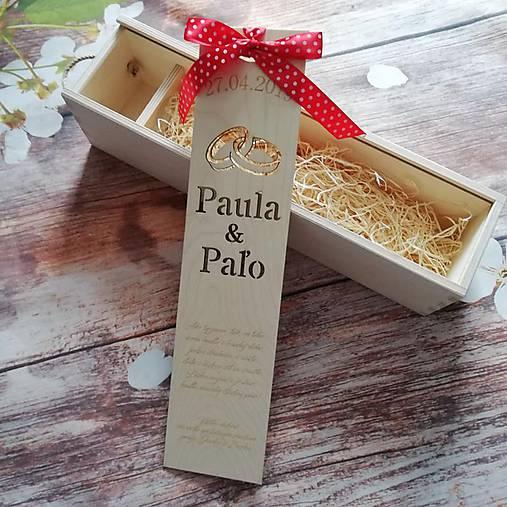 Drevená gravírovaná krabica na víno - obrúčky