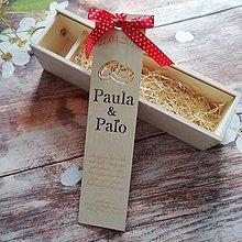 Darčeky pre svadobčanov - Drevená gravírovaná krabica na víno - obrúčky - 11127649_