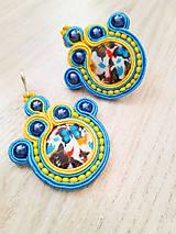 Náušnice - Žlto modré šujtášové náušnice s motýľmi 2 - 11126720_