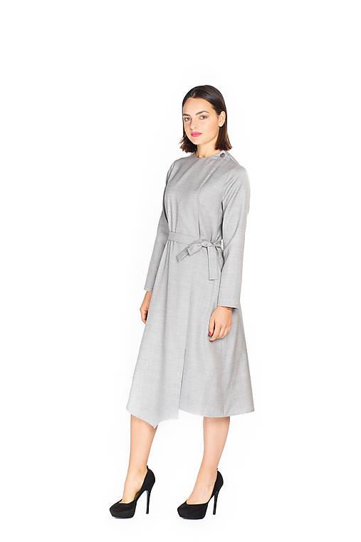 Šaty - Šedé kockované midi asymetrické vlnené šaty - 11127375_