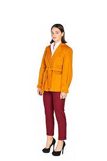 Kabáty - Horčicový krátky vlnený kabát - 11127249_