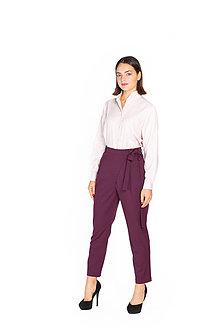 Nohavice - Tmavo fialové vlnené nohavice - 11127339_