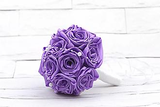 Kytice pre nevestu - Saténová kytica svadobná fialová ruže - 11128094_
